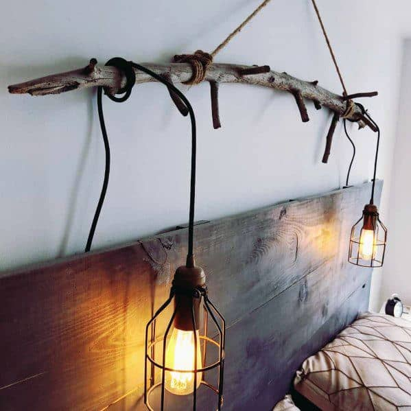 Wood Branch With Industrial Lights Designs For Bedroom Lighting