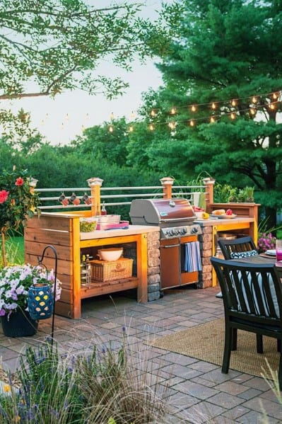 Wood Built In Grill Design Ideas