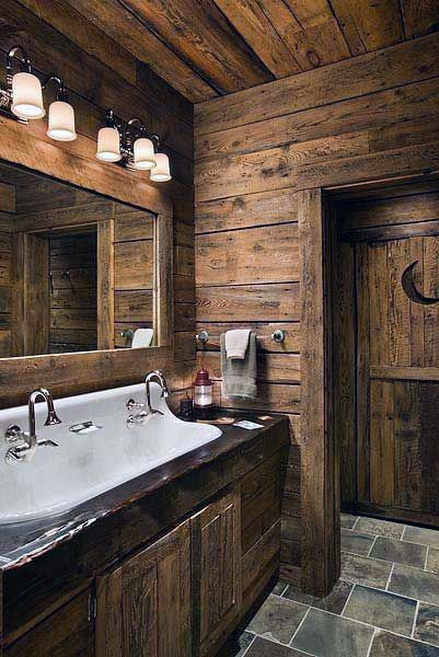 Wood Cabin Rustic Half Bath Ideas