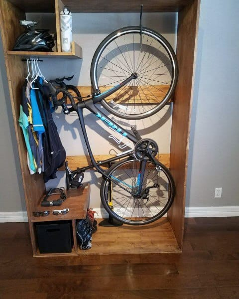 Wood Cabinet Bicycle Storage Ideas