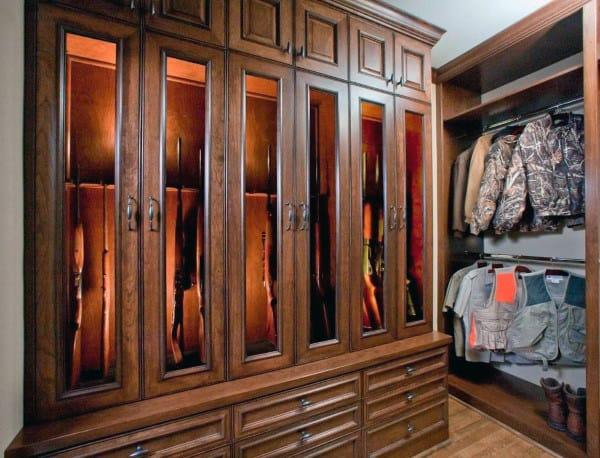 Wood Cabinetry Gun Room Ideas