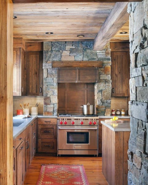 Wood Cabinets With Stone Walls Rustic Kitchen Ideas