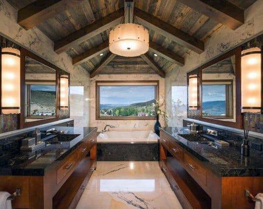 Wood Ceiling Beams Rustic Bathroom Ideas