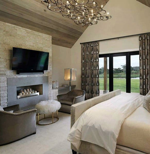 Wood Ceiling Fireplace Master Bedroom Ideas
