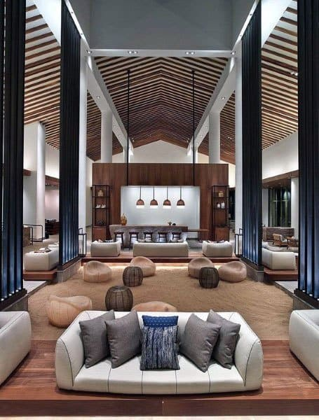Wood Ceiling Great Room Ideas With Bar