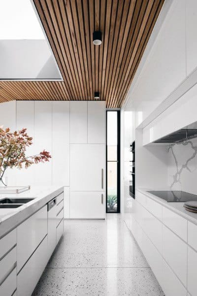 Wood Ceiling Ideas Ultra Modern White Kitchen