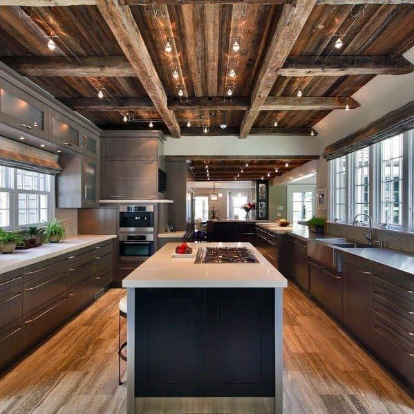 Wood Ceiling Kitchen Rustic Track Lighting Ideas