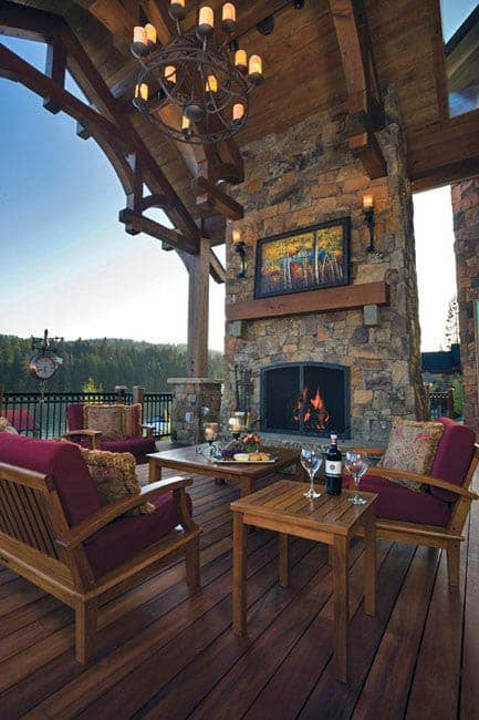 Wood Ceiling Massive Outdoor Fireplace Design On Deck