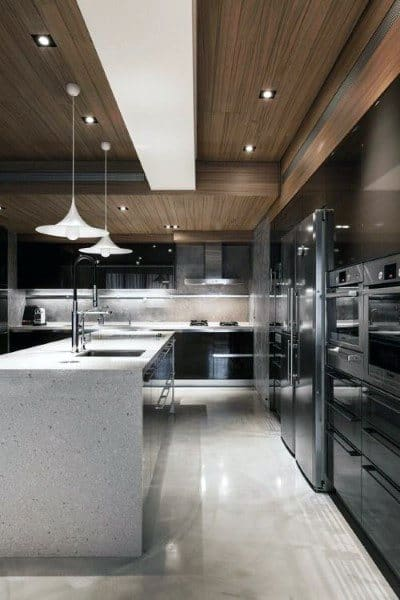 Wood Ceiling Modern Kitchen Designs