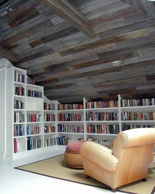 Wood Ceiling Private Home Library In Attic