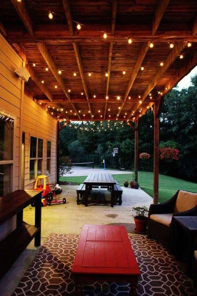 Wood Ceiling Roof Impressive Patio String Light Ideas