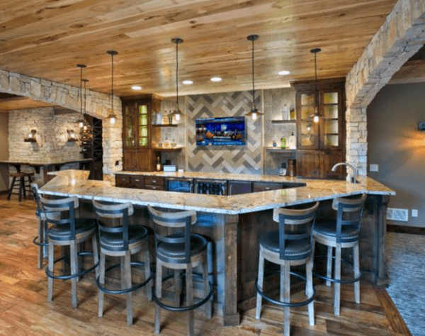 Wood Ceiling Rustic Bar Ideas