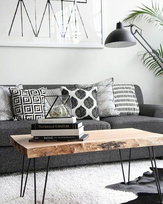 Wood Coffe Table With Grey Cloth Sofa Bachelor Pad Furniture
