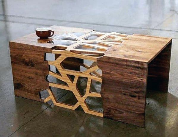 Wood Coffee Table With Cut Design Bachelor Pad Furniture Ideas