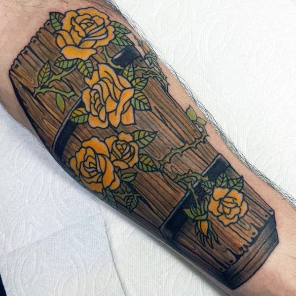 Wood Coffin Guys Tattoo With Yellow Rose Flowers