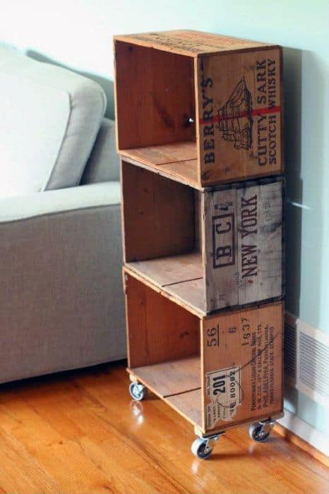 Wood Crate Stroage Bookcase Man Cave Ideas