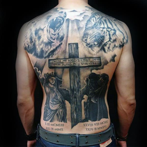 Wood Cross With Religous Quote Mens Badass Back Tattoos
