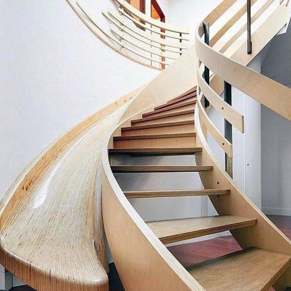 Charmant Wood Curved Indoor Stairs Slide Ideas