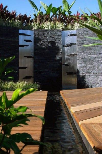 Wood Deck Backyard Waterfalls