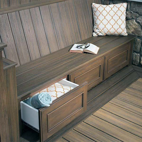 Wood Deck Bench With Built In Storage Drawers Below