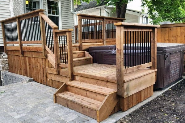 Wood Deck Built In Hot Tub Design Ideas