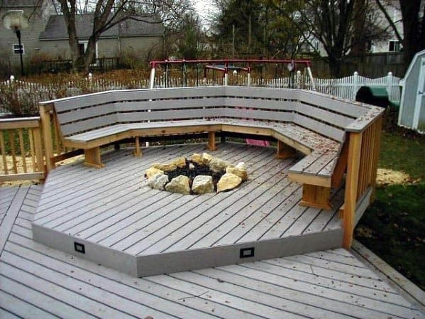 Wood Deck Fire Pit Home Designs With Seats