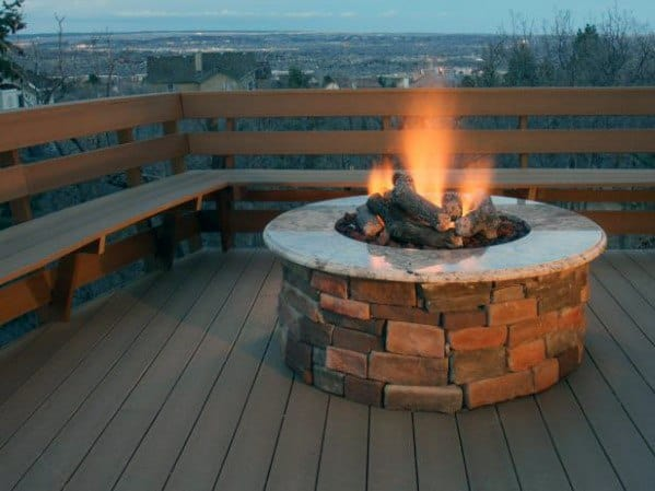 Wood Deck Ideas With Stone Circle Small Fire Pit