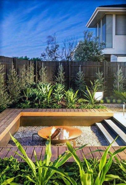 Wood Deck Sunken Home Backyard Fire Pit Seating