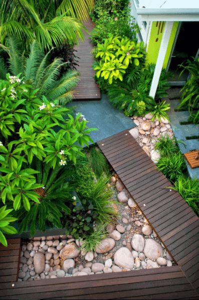 Wood Deck Walkway Design Ideas For River Rock Landscaping