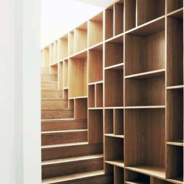 Wood Design Ideas Basement Stairs With Built In Bookcase Wall