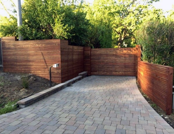 Wood Driveway Front Yard Fence Design Idea Inspiration