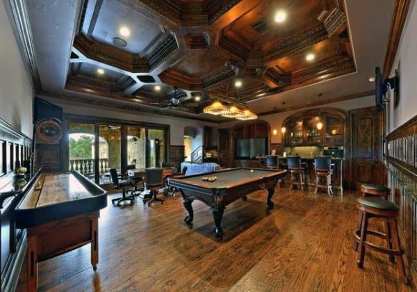Wood Floor And Ceiling Male Rustic Game Room Design Inspiration