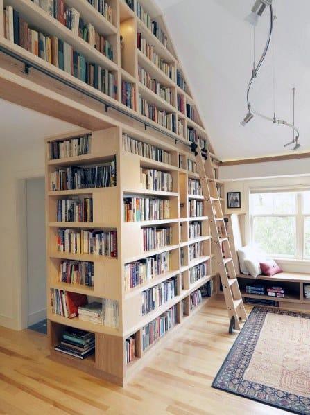Wood Floor To Ceiling Bookshelves Ideas With Sliding Ladder