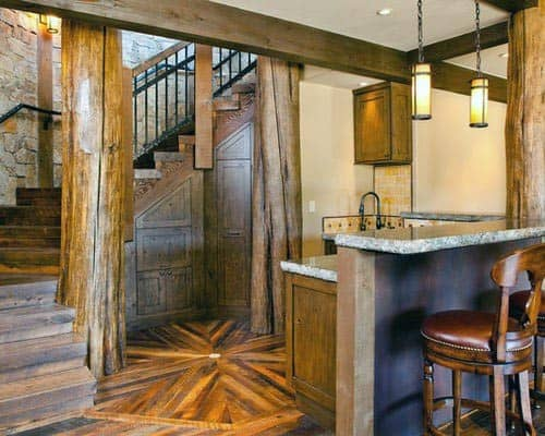 Wood Flooring With Bar Rustic Basement Ideas