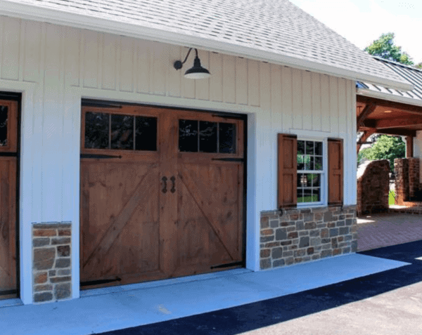 Wood Garage Door Detached Garage Farmhouse Style Ideas