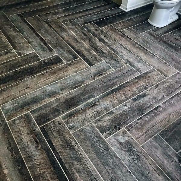 Wood Hardwood Tile Bathroom Floor