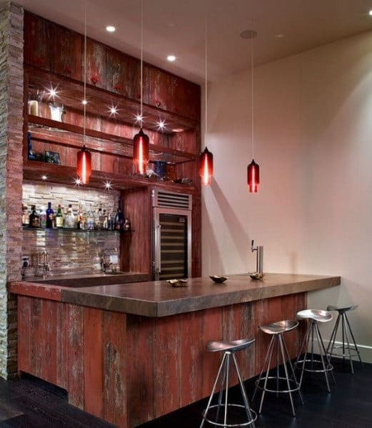 Attractive Wood Home Bar Interior Design