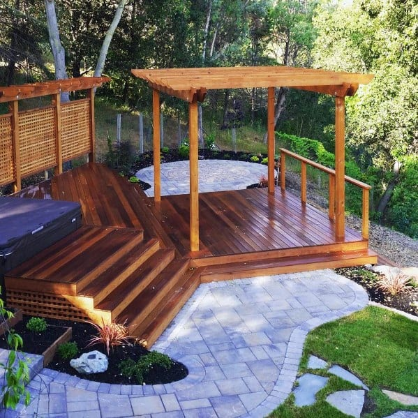 Wood Home Exterior Hot Tub Deck