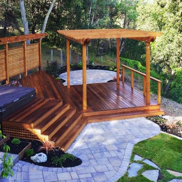 Wood Home Exterior Hot Tub Deck