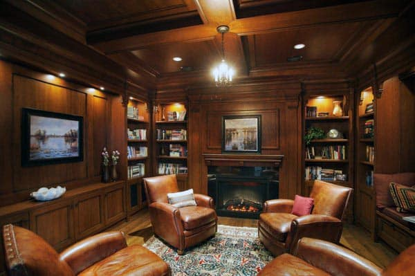 Wood Home Library With Brown Leather Seating