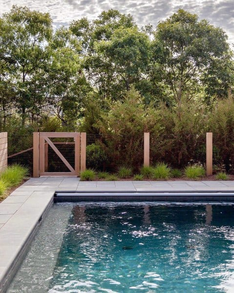 Wood House Pool Fence Ideas