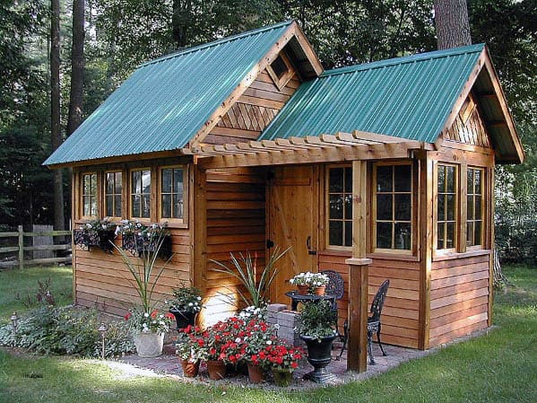 Wood Ideas Backyard Shed With Green Metal Roof
