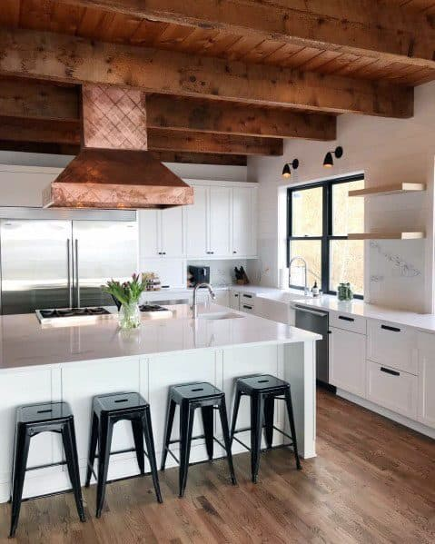 Wood Kitchen Interior Rustic Ceiling Cool Interior Ideas