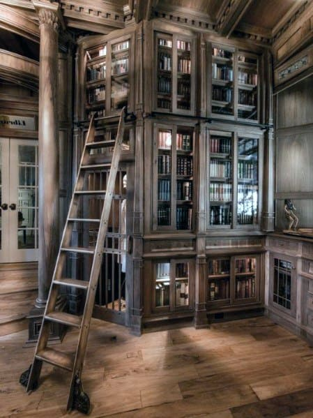 Wood Library Home Interior Floor To Ceiling Bookshelves