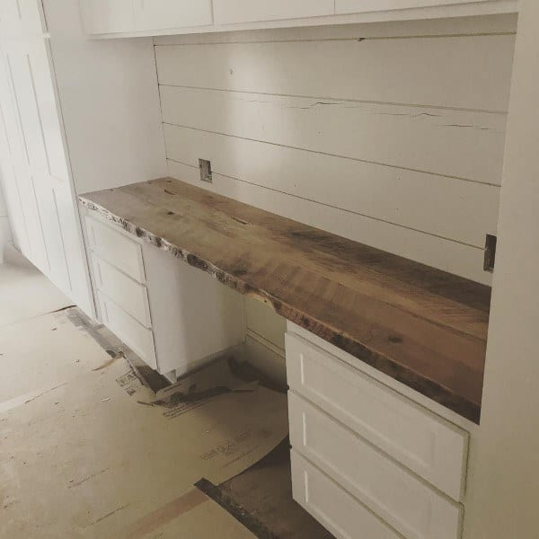 Wood Live Edge Slab Built In Desk Cabinet Ideas