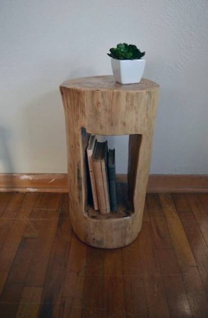 Wood Log With Cut In Middle Cheap Man Cave Ideas Side Table Furniture