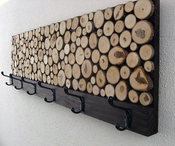 Wood Logs With Coat Rack Bachelor Pad Wall Art Designs