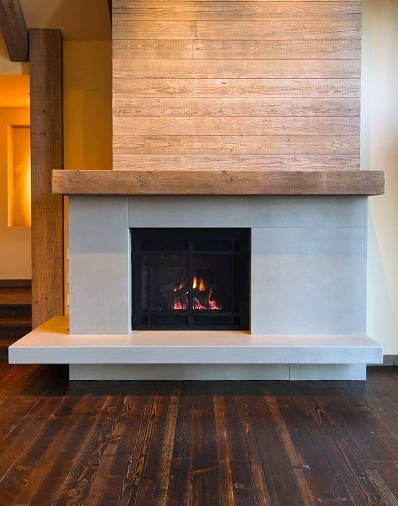 Wood Mantel With Concrete Fireplace Design