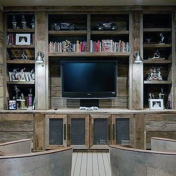 Wood Media Bookcase Cool Man Cave Ideas