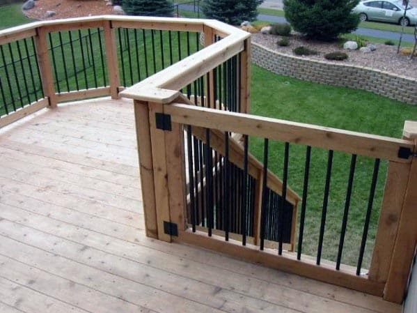 Wood Metal Balusters Deck Gate Ideas